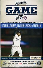 CARLOS GOMEZ ON COVER MILWAUKEE BREWERS 2013 OFFICIAL GAMEDAY PROGRAM ISSUE #12