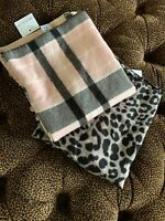 2 Scarf Shawls Black Leopard Silky Pink Black Plaid Flannel New With Tags
