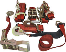 4 Axle Straps Car Carrier Tie Down Straps with Ratchets Tow Straps - Red