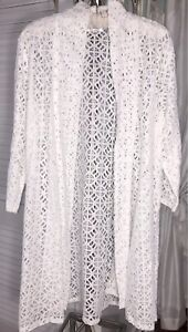 NEW Plus Size 1X Ivory Open Kimono Lace Crochet Duster Jacket Topper