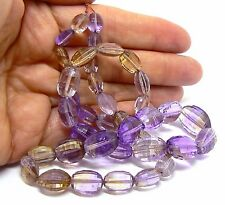 """FACETED AMETRINE CITRINE AMETHYST BEADS 18.5"""" STRAND NATURAL PURPLE GOLDEN AAA++"""