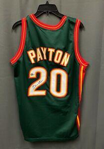 Gary Payton #20 Signed Supersonics Green Jersey Sz XL Beckett BAS COA HOF