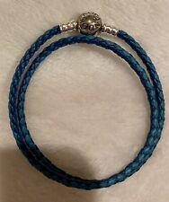 NEW Authentic Pandora MIXED BLUE Leather DOUBLE BRACELET 590747CBMX Small Size