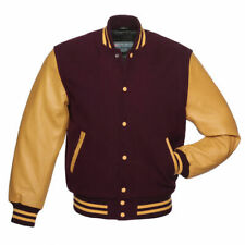 New Mens Classic Letterman Baseball Wool & Genuine Leather Varsity Bomber Jacket