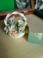 "VINTAGE JOSEF GEORGIAN FINE BONE CHINA * MICE IN A BASKET *  3"" TALL"