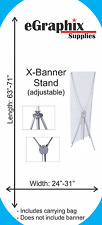 """X-Banner Stand, Adjustable: Width: 24""""-31"""", Length: 63""""-70"""""""
