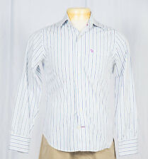 Abercrombie Fitch Muscle Mens Button Down Shirt Sz S 100% Cotton Striped White B