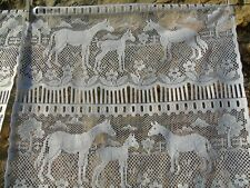 French lace motif horse pony a pair of white curtain 22.5'' x 32'' of each