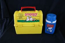 Vtg 1968 Thermos King Seeley Peanuts Woodstock Snoopy Plastic Yellow Lunch Box