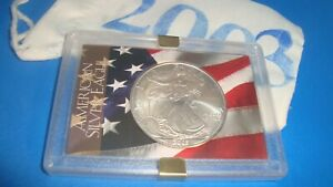 2003 American Silver Eagle 1oz 99.9% SILVER  USA FLAG Design Case & Pouch D18