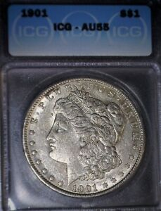 1901 Morgan Silver Dollar, ICG  AU55, Tough Date, Nice, Nice. Issue Free
