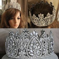 Silver Queen Tiaras Crystal Rhinestone Huge Round Crowns Wedding Pageant Brides