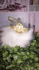 Weihnachtskugel Fell Gold Creme *ENGEL Flügel Christbaumkugel Shabby