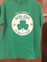 Bon Jovi  Las Vegas St Patrick's Day 2018 Green Shirt Men's Medium EUC