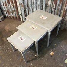 Vintage Upcycled Nest Of Coffee Tables Painted Distressed Occasional