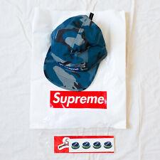 Authentic FW 2018 Supreme Reflective Camo Camp Cap in Blue