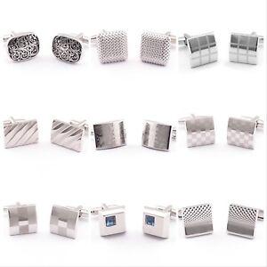 Silver Steel rectangular Novelty cuff links Sleeve Button Wedding  Business