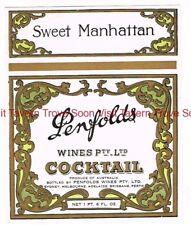 1940s AUSTRALIA PENFOLDS SWEET MANHATTAN COCKTAIL Label