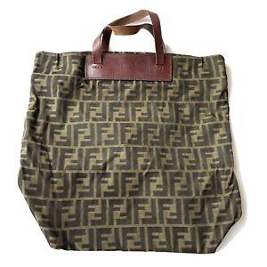 Fendi Zucca Monogram Logo Nylon Tote Bag Brown Canvas Bottom Leather Authentic