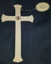 """Lace Illusions Double Ring Wedding Porcelain Cross by Roman, Inc. 7.5"""" high"""