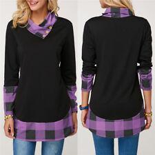 Casual Women'S Plaid Collar Sweater Long Sleeve T-Shirt Tunic Top Blouse Tee New