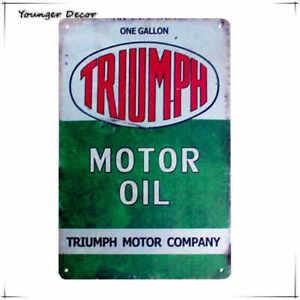 TRIUMPH MOTOR OIL Metal Sign Retro Vintage Bar Pub Garage Poster Wall