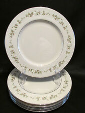 Lenox Brookdale 7 Dinner Plates White & Yellow Flowers Platinum Trim 10 1/2""