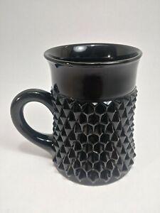 Vintage Tiara Indiana Black Glass Diamond Point 8oz Coffee Tea Cup Mug