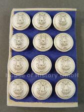 12 Knöpfe LYRA, 16mm, versilbert, Musiker, Militärmusiker, Uniform, um 1910, S1