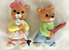 "Brown Homco 2 3/4"" Ceramic Musical Bear Pair Figurine - Lot of 2 Pieces"