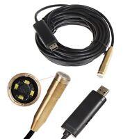 10M Waterproof USB Borescope Endoscope 4 LED Inspection Tube Snake Sewer Camera-