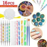 16x/Set Mandala Dotting Tools Rock Painting Kit Nail Art Pen Paint Stencil Brush