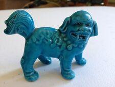 Vintage Asian Turquoise Glazed Lion Figurine Pre 1950's
