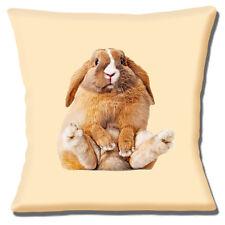 """Chubby Conejo de 16""""x16"""" 40cm Cubierta para Cojín Marrón Blanco Conejo de la foto Imprimir"""