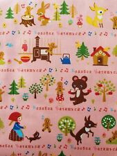 KOKKA Cosmo Japanese Import Cotton Canvas Fabric GINGERBREAD MAN FQ PINK
