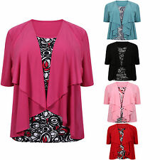 Ladies Print & Plain Plus Size 2 in 1 Short Sleeve Women's Top Sizes: 18-32