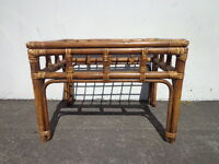 Rattan Coffee Table Bohemian Boho Chic Accent Stand Chippendale Chinoiserie MCM