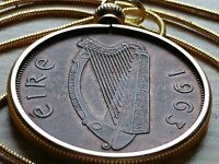 """Mint 1963 Irish Penny Pendant on a 24"""" 18KGF Gold Filled Snake Chain."""