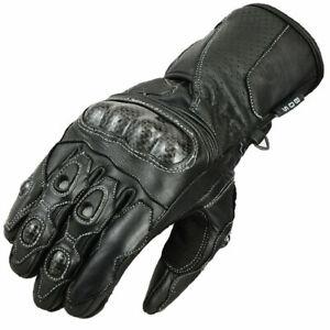 Herren Motorradhandschuhe Schwarz, Handschuhe mit Protektoren, Gr S bis 3XL
