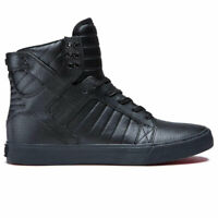 Supra Men's Skytop Hi Top Sneaker Shoes Black/Black-red Footwear Casual Skate...