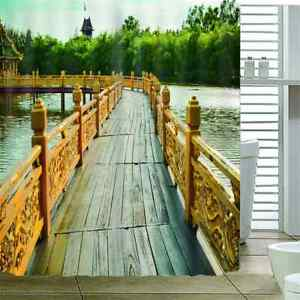 With The Wooden Road 3D Shower Curtain Waterproof Fabric Bathroom Decoration