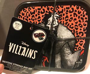 Disney Villains Funko Nesting Boxes Storage Set Of 3 Cruella Ursala Maleficent