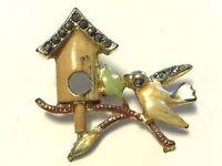 TRUE VINTAGE Birdhouse Little Bird Enamel Rhinestone Costume Jewelry Pin JVJ03