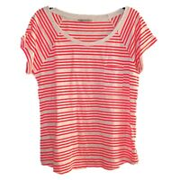 NEW LADIES EX M & S STRIPED SCOOP NECK CASUAL T-SHIRT TOP ORANGE / BEIGE Sz 8-20