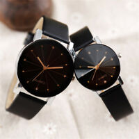 Men Women Fashion Watch Leather Strap Line Analog Quartz Ladies Wrist Watches