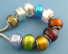 100 Novità Mix Perle Perline in Vetro Foro Largo Lampwork Per Bracciale 10x14mm