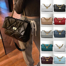 Quilted Sheepskin Leather Gold & Silver Chain Shoulder Bag Purse Tote Crossbody