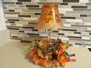 Rare YANKEE Candle Amber Shade w/Frosted Scalloped Design  Clear Votive Holder