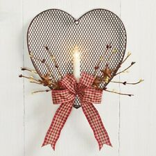Wire Mesh Heart-Shaped Valentines Day Wall/Door Decor with LED Candle