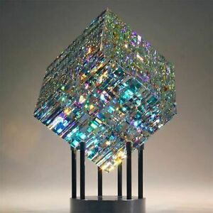 Magical Cube Statue Yellow Blue Sculpture Magik Chroma Cube Decoration Glass